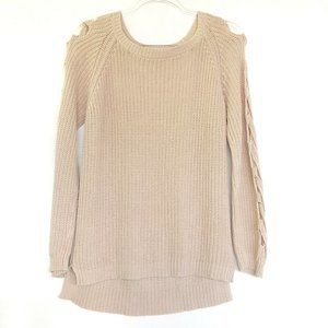 Lucky Brand (S) Cold Shoulder Pearl Knit Sweater